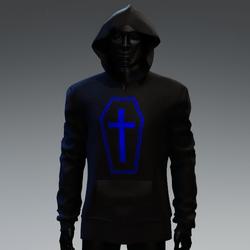 Unisex Coffin Cross Hoodie [Blue]
