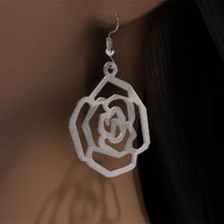 White gold rose earrings
