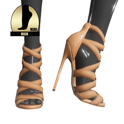 Strappy stiletto sandals for h2ai high - brown