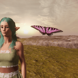 Animated Butterfly pet light pink [Necklace Slot]