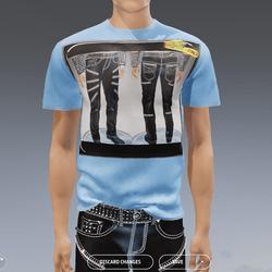 Punk Rock Chaos Black Leather Pants 14 Zippers T-Shirt