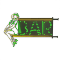 Animated Green Neon Bar Pin up