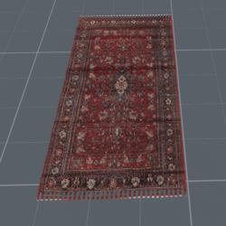 Trampled Red Persian carpet