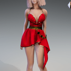 Rome Dress in Red and Gold