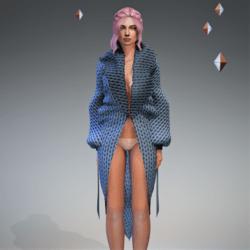 Cable Knit Coat Blue