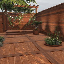 Modern Fence & Deck Set   With Door Animation