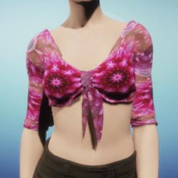 Pink Silk Mandala Tied Crop Top