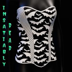 Halloween Bat Fishnet Corset [White]