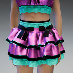 """Satain Skirt """"Let's Party it's Xmas"""" Pink & Mint"""