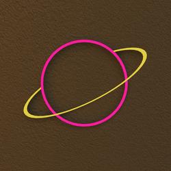 Neon Saturn Light Sign