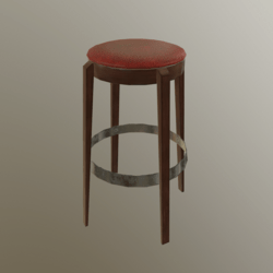 Barstool #6 (Leather, Wood, Metal)