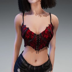 """Goth Top """"Miss Batfly"""" in Red"""