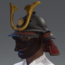 Samurai Helmet & Mask - Red/Gold