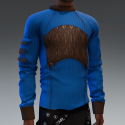 Blue Sweater with Brown Leather Detail