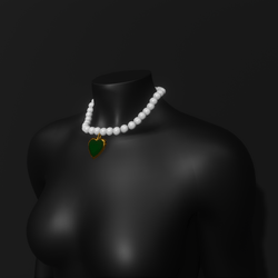 Pearl Emerald Heart Necklace