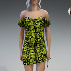 Plastic Snake Dress in Yellow-Green
