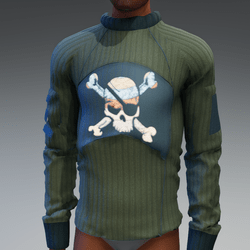 Sweater with Emissive Skull Patch
