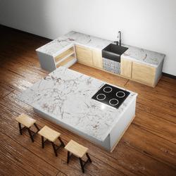 Kitchen White marble.