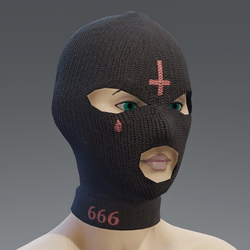 Balaclava - black pink cross female