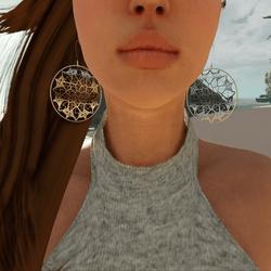 Flower Mandala Hoop Earrings (Silver)