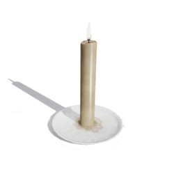 Candle on plate[Scripted]