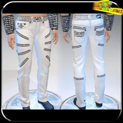 Punk Rock Chaos White Leather Pants 14 Zippers - Male
