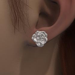 White rose stud earrings