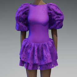 Violet lace large puff sleeve dress
