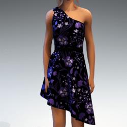 Shoulder Strap Dress in Painted Garden - Purple