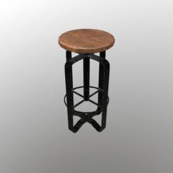 Barstool #7 (Wood, metal)