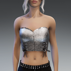 """Gothic Top """"Celly"""" in Silver Metallic"""