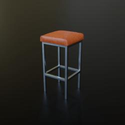 Barstool #8 (Metal, Leather, Modern)
