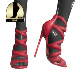 Strappy stiletto sandals for h2ai high - red