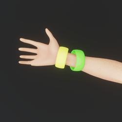 80's Multi-Coloured Bangles (Green\Yellow)