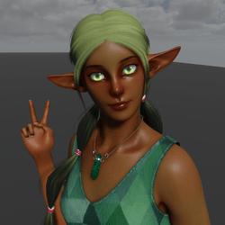 Emerald Elf Avatar (Emissive Eyes)