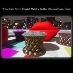 White-Gold Velvet-Cheetah Metallic Padded Ottoman Corner-Table