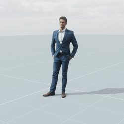 Business dude standing 3D scan static model