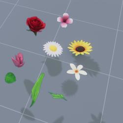 flower set (6 flower + 3 leaflet)
