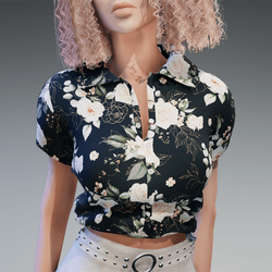 Blouse with White Roses Flower Pattern