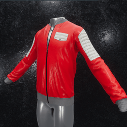 Leather Jacket Ron red white