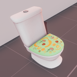 Classic toilet - green fruit cover (animated)