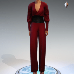 Wrapped Pantsuit - Linen and Leather - Red