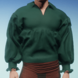 Poet Shirt in Green Linen
