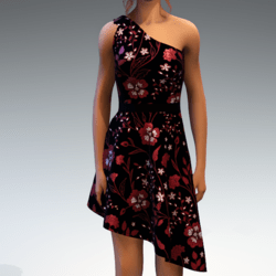 Shoulder Strap Dress in Painted Garden - Red