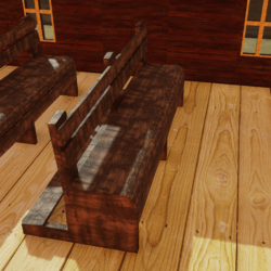 Old wooden churches bench