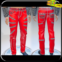 Punk Rock Chaos Red Leather Pants 14 Zippers - Male