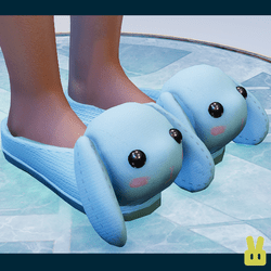 bunny slippers - blue