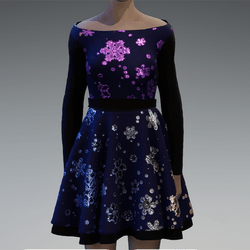 Gradient metallic brocade snowflakes blue dress