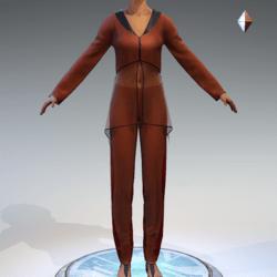 Sheer Tunic Suit - Orange Wool