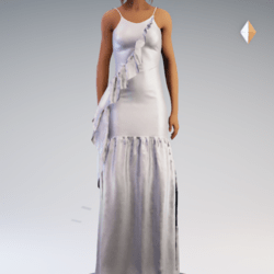 Spaghetti Gathered Gown - White Chiffon